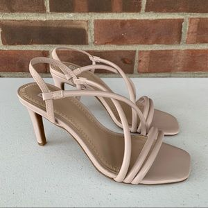 New BP nude faux leather high heel strap sandals